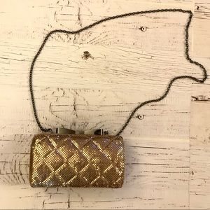 La Regale Gold Diamond quilted mesh purse